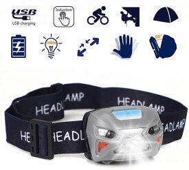 ヘッドライト LEDヘッドライト 小型軽量 センサー機能 USB充電式 防水式 角度調節可能 キャンプ 非常時用 SOSフラッシュ機能
