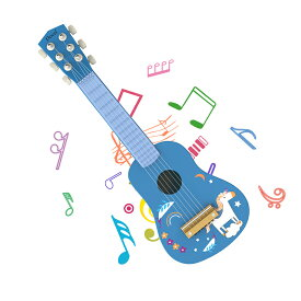ギター 子供用 ブルー 楽器 6弦ギター ミニギター 21インチ 持ち運び 知育玩具 楽器玩具 おもちゃ かわいい 写真用 撮影用 運指練習 誕生日プレゼント(七五三や入園卒園進学など)ピック・予備弦付き