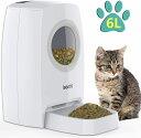 自動給餌器 猫 犬用ペット自動餌やり機 6L大容量 1日4食で最大20日連続自動給餌 タイマー式 録音可 水洗い可能 円形窓…