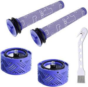 掃除機フィルター ダイソン V6シリーズ&DC59用 プレフィルター(2枚)&ポストモーターフィルター(2個) 互換品 洗濯可能 高性能 吸引力 置き換え部品 ブラシ付 4個セット