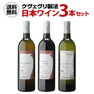 1本当たり2,749円(税込) 送料無料クヴェヴリ製法 日本ワイン 3本セット赤 白 オレンジ 甲州 国産 大和葡萄酒 長S<P7対象外>