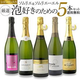 【送料無料】ソムリエとソムリエールが泡好きのために選んだ厳選シャンパン入り泡5本セット ワインセット
