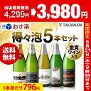 【送料無料】【第13弾】待望の販売再開!気軽に楽しめる♪得々泡 5本!スパークリング ワイン セット(追加7本同梱可…