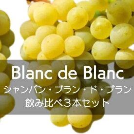 シャンパン、ブラン・ド・ブラン飲み比べ3本セット【ワインセット】