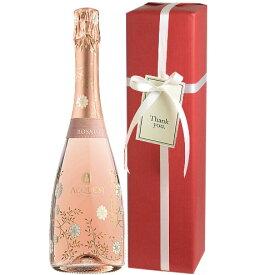 [2021年5月度 月間優良ショップ]【送料・ラッピング込】★綺麗な花柄ボトル★ アックエジー ブリュット・ロゼ スパークリングワイン ギフト (泡1) 【あす楽対応_関東】 結婚祝い 結婚内祝い 母の日 ワイン ギフト 誕生日祝い