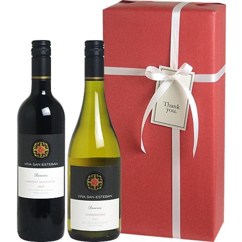 【送料・ラッピング込】 人気のチリ産高品質ワイン! ヴィーニャ・サン・エステバン ワインギフト (白1、赤1) 【あす楽対応_関東】 【smtb-T】チリワイン ワイン ギフト
