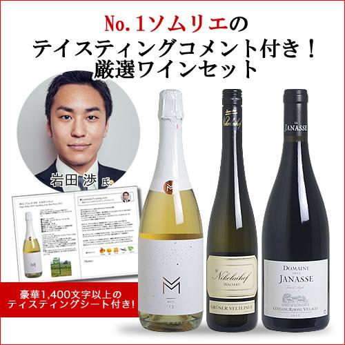 【送料無料】No.1ソムリエのテイスティングコメント付き!厳選ワイン3本セット(赤1、白1、泡1) 【あす楽対応_関東】