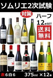 ソムリエ試験対策 ハーフ12本セット 重要 ワイン 沖縄離島は別料金 375ml×12飲み比べ ギフト プレゼント 白 赤 ワイン