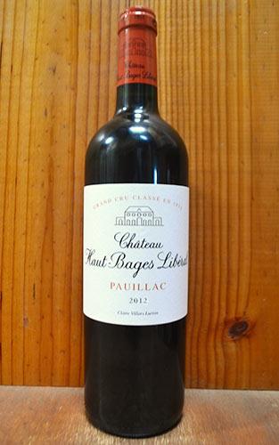 【6本以上ご購入で送料・代引無料】シャトー オー バージュ リベラル 2012 メドック グラン クリュ クラッセ 公式格付第5級 赤ワイン ワイン 辛口 フルボディ 750mlChateau Haut Bages Liberal [2012] AOC Pauillac Grand Cru Classe de Medoc en 1855