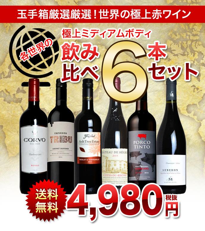 【送料無料】玉手箱厳選 各世界の極上ミディアムボディ飲み比べ赤ワイン6本セット