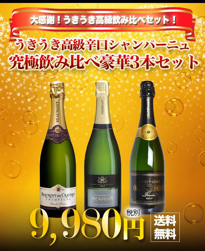 【同梱不可】【送料無料】本格 シャンパン ワイン セット 高級 辛口 シャンパーニュ 飲み比べ 3本セット