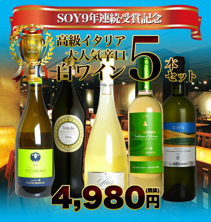 SOY9年連続受賞記念 うきうきスタッフ厳選 高級イタリア大人気辛口白ワイン 飲み比べ5本セット