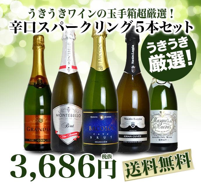 【同梱不可】【送料無料】ソムリエが選ぶ 本格 高級 辛口 スパークリング ワイン 飲み比べ 5本セット