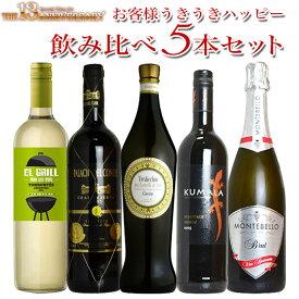 【送料無料・代引手数料無料】13周年記念セット・スタッフ厳選・お客様うきうきハッピー飲み比べ5本セットThe 13 Anniversary Special Wine Set