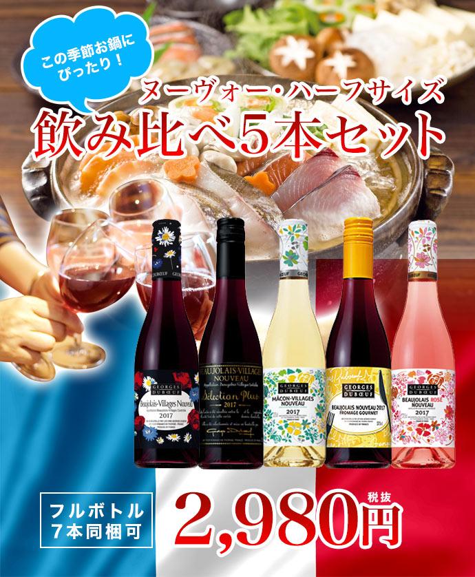 この季節お鍋にぴったり ヌーヴォー ハーフサイズ 飲み比べ5本セット【フルボトル7本同梱可】Beaujolais Nouveau Set
