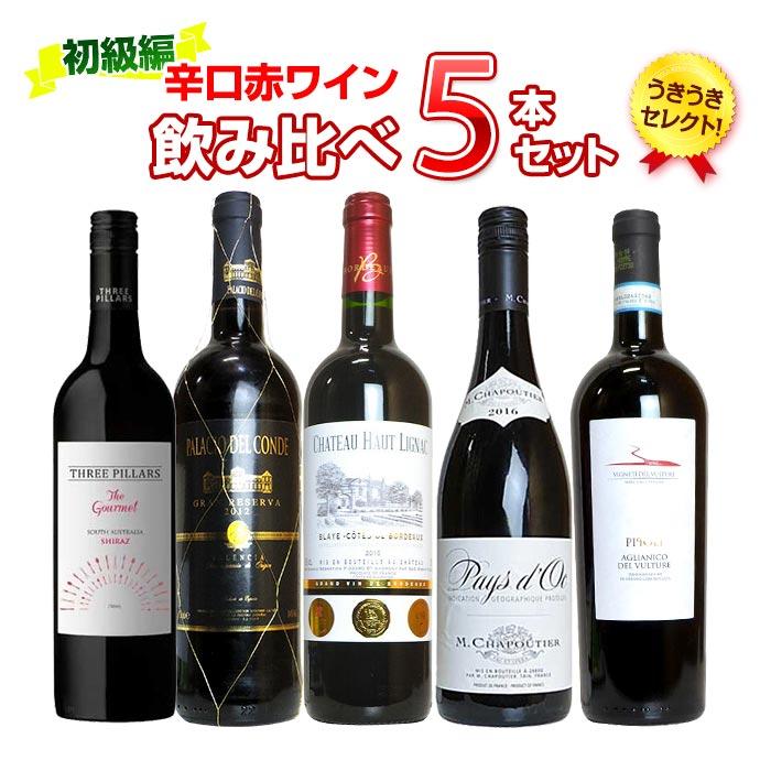 【初級編】うきうきセレクト!辛口赤ワイン飲み比べ5本セット【送料無料】 ukiuki Select red wine 5 set