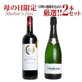 【ご希望の方には無料ラッピング】母の日限定ワインセット 日頃の感謝を込めた究極ワイン赤泡2本セットC