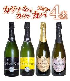 【送料無料】カヴァ カバ カヴァ カバ 4本飲み比べスペシャルセット 高級シャンパン方式(高級瓶内二次発酵方式) D.O.カバ 高級スパークリング 高級泡 辛口 白 スペインCAVA CAVA CAVA CAVA Special SET