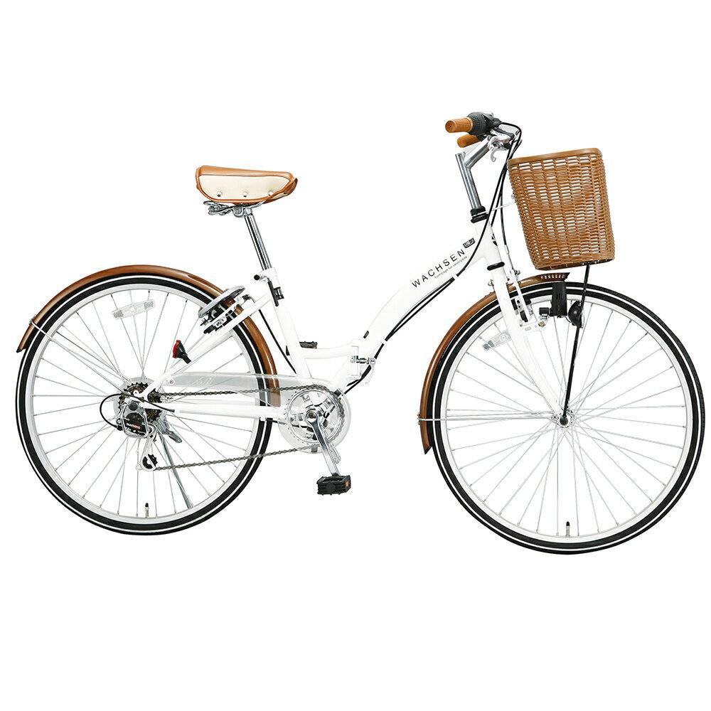 【受発注品】阪和 WACHSEN(ヴァクセン) 26インチ 折りたたみシティサイクル シマノ6段変速自転車 BC626-IG/BC626-WB