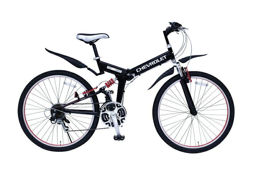 【送料無料】【受発注品】ミムゴ CHEVROLET シボレー WサスFD-MTB26 18SE ブラック MG-CV2618E 26インチ 折りたたみ自転車