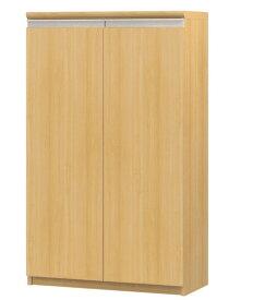 フラット扉書庫 高さ117cm幅60〜70cm奥行46cm厚棚板(棚板厚み2.5cm) 両開き フラット扉付洗面所シェルフ