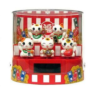 SANTA ソーラー5匹の招き猫 トイ 開運 首振り人形 ソーラー電池