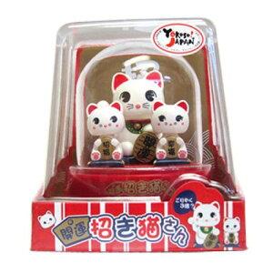 SANTA 開運招き猫さん白 トイ 首振り人形 ソーラー電池 まねき猫 開運