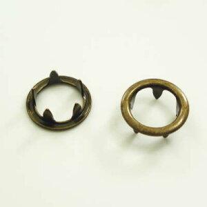 【カネエム製】 アメリカンホック 金属スナップボタンパーツ 爪リング 10mm アンティックゴールド 【30個】