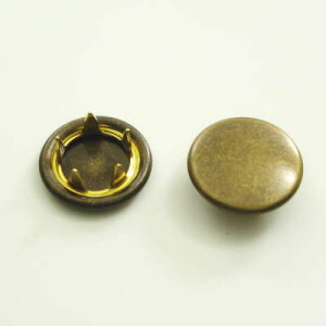 【カネエム製】 アメリカンホック 金属スナップボタンパーツ キャップ 12mm アンティックゴールド 【30個】