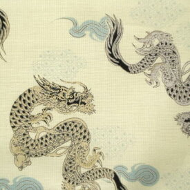 シーシング(細布) 伝統和柄 龍/ドラゴン コットンプリント生地 【1M単位】