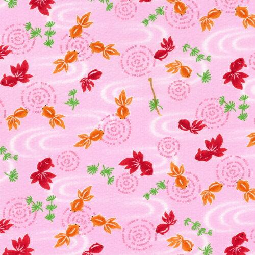 【国産リップル/シボ加工】 金魚 水面 波紋 ピンク 108cm巾/1M単位 生地/布
