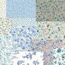 『デザインワークスフラワー柄プリントカットクロス10枚セットブルー系』約35cm×35cm日本製生地/布