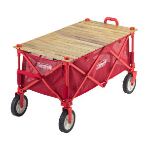(Coleman)コールマン アウトドアワゴンウッドロールテーブル|キャンプ用品 キャリーカート キャリーワゴン テーブル アウトドア カート 折りたたみ 4輪 キャンプカート ワゴン 便利 グッズ お