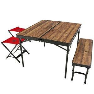 (LOGOS)ロゴス Tracksleeper ベンチ&チェアテーブルセット4 | キャンプ用品 おしゃれ アウトドアグッズ アウトドア用品 バーベキュー グッズ テーブル イス セット 椅子 ベランダ ベンチ いす バ