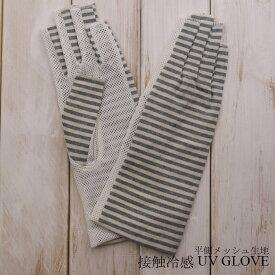綿100%接触冷感平側メッシュUV手袋(ボーダー柄)ショート丈指切りタイプ
