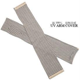 UVカット&接触冷感 綿100%ボーダー柄ふちレース飾りロング丈手袋(アーム・指なしタイプ)