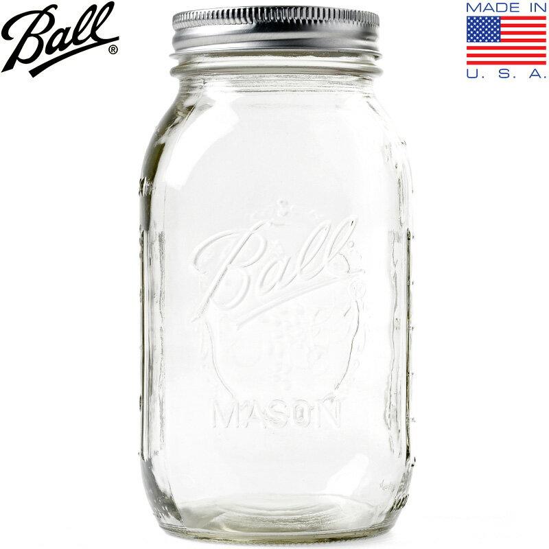 BALL MASON JAR ボール メイソンジャー Regular Mouse 32oz CLEAR アメリカ生まれのガラス瓶 Mason Jar/Regular Mouthの32oz ダブルキャップと呼ばれる特徴的な構造 【クーポン対象外】