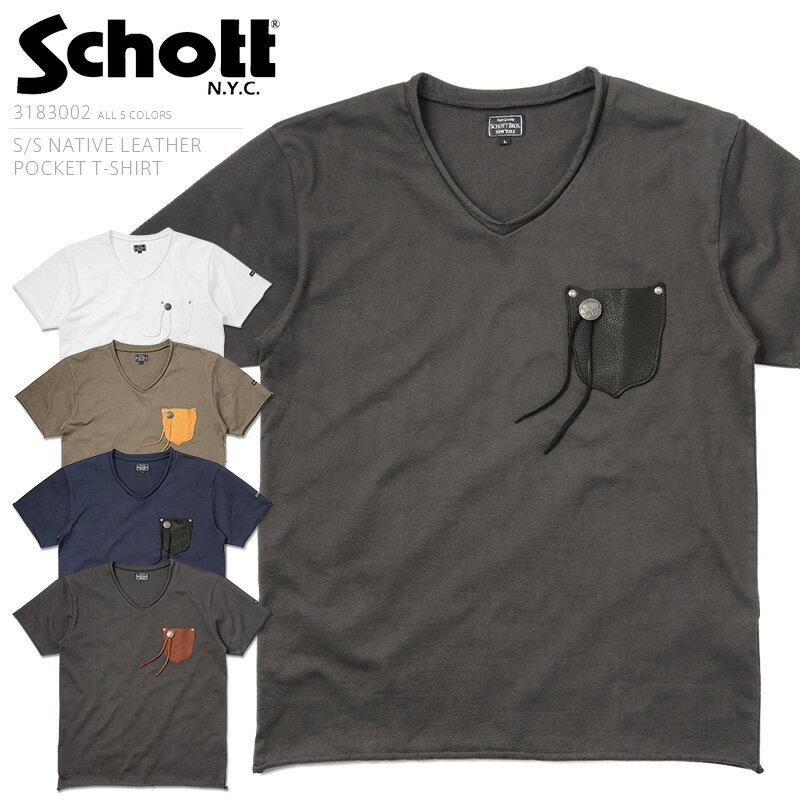 39%OFF大特価!Schott ショット 3183002 NATIVE レザー ポケットTシャツ ☆【クーポン対象外】