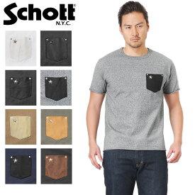 28%OFF大特価!Schott ショット ディアスキン レザー ポケット Tシャツ ONE STAR【3163030,3183001】【クーポン対象外】