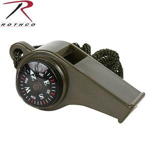 【クーポンでさらに15%OFF!】ROTHCO ロスコ スーパーホイッスル OD 9401 小型コンパス(方位磁石)と温度計が付属 何かと役立つミルスペックモデル 《WIP03》【So】【T】