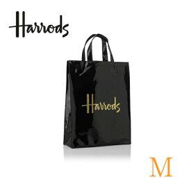 (ハロッズ) Harrods トートバッグ PVC 正規品 Harrods Signature Shopper Bag 黒 裏地付 エコバッグ
