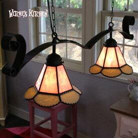 ペンダントライト【Twin Sindly・ツインシンドリー】LED対応 フラワー 2灯 ステンドグラス ランプ