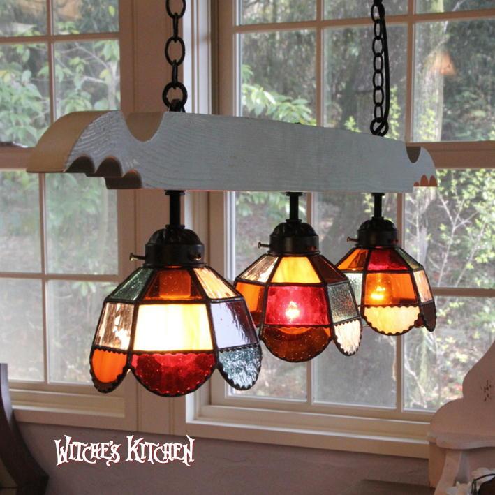 ペンダントライト 【Orangette・オランジェット】 LED対応 オレンジ 3灯 ステンドグラス ランプ