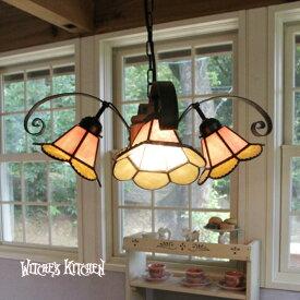 シャンデリア【Sindly・シンドリー】LED対応 フラワー 4灯 ステンドグラス ランプ シャンデリア