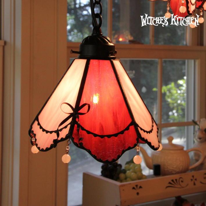 ペンダントライト 【Alloa・アロア】 LED対応 リボン ステンドグラス ランプ