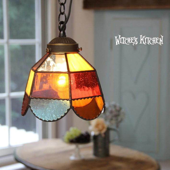 ペンダントライト 【Orangette・オランジェット】 LED対応 オレンジ ステンドグラス ランプ ペンダントライト