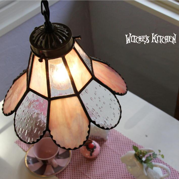 ペンダントライト 【Spring Karen・スプリングカレン】 LED対応 ピンク ステンドグラス ランプ