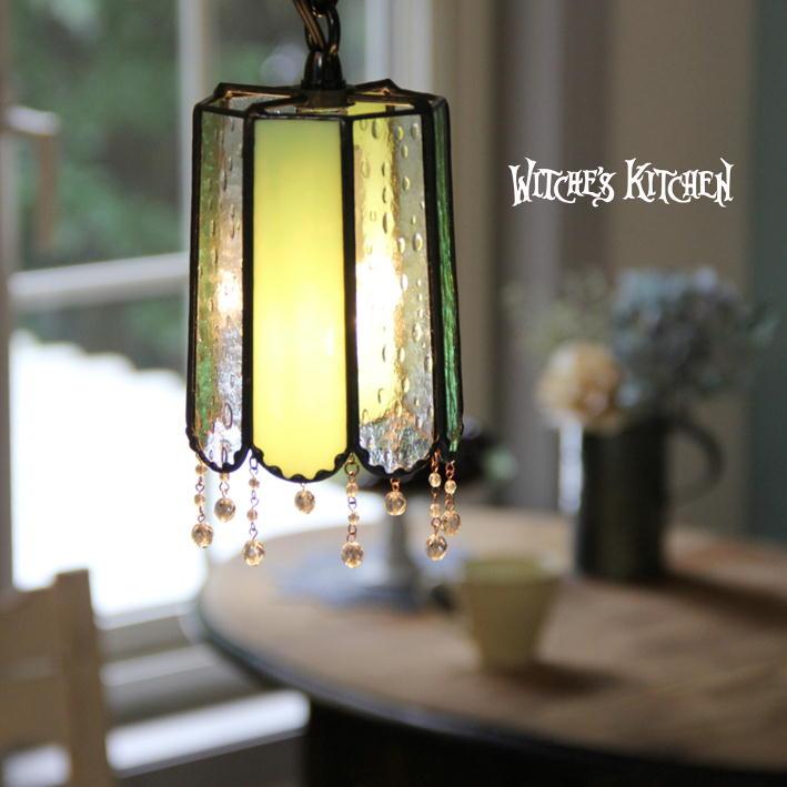 ペンダントライト 【Verymelon・ベリーメロン】 LED対応 グリーン ステンドグラス ランプ
