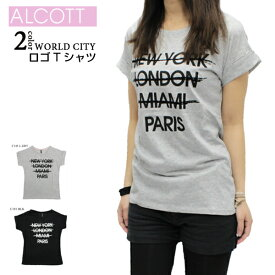 【送料無料】ALCOTT WORLDCITYプリントTシャツ レディース 半袖 ライトグレー/ブラック S-L