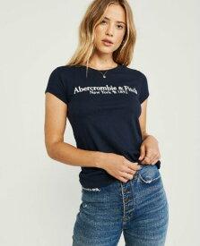 アバクロ レディース TシャツShort-Sleeve LOGO TEE ネイビーAbercrombie&Fitch アバクロンビー&フィッチ新作 本物 正規品 アメリカ買付 USA直輸入